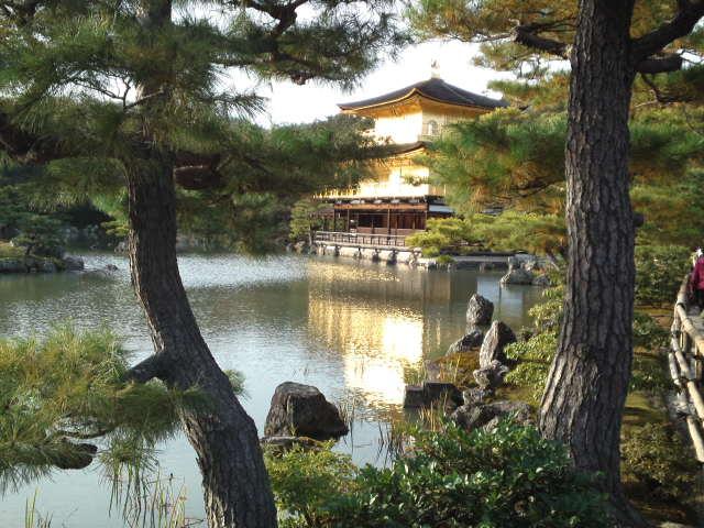 金閣が鏡湖池に映っている
