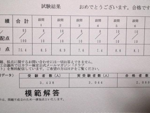 カラーコーディネーター試験結果通知書です。
