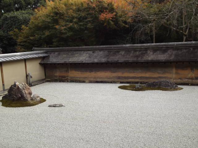 龍安寺の石庭で正面より少し左より付近。