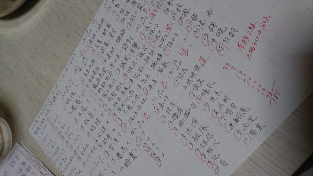 漢検2級の合格ラインは160点。