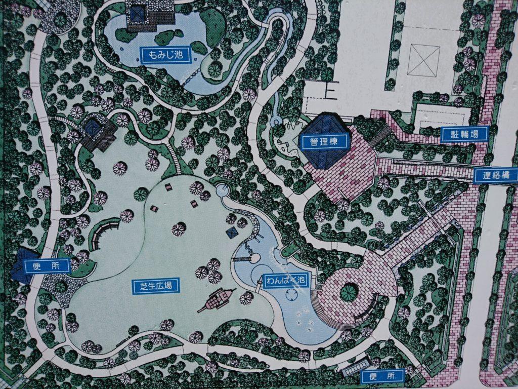 元浜緑地の案内図(わんぱく池)