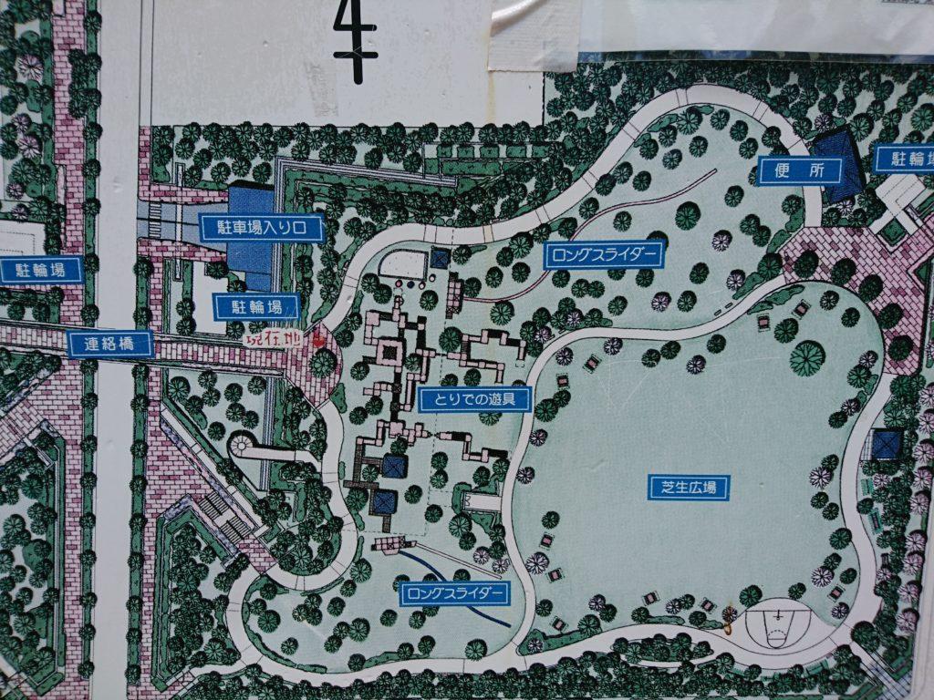 元浜緑地の案内図(駐車場入り口付近)