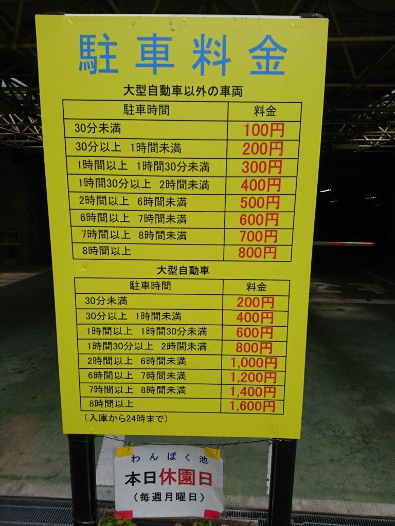 写真は元浜緑地の駐車場の駐車料金です。