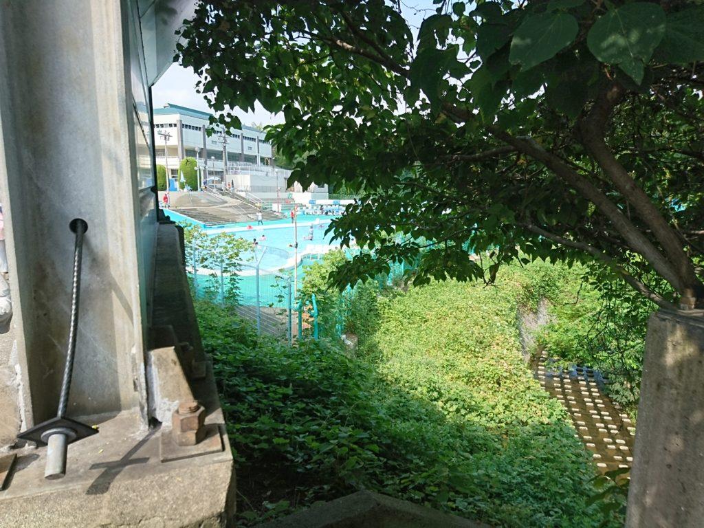第二駐車場から少し歩いていよいよ右手に緑ヶ丘プールが見えてきました。